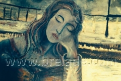 Girl Resting in a Winters Storm by Sue Brelade